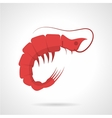 Red prawn flat icon vector image vector image
