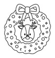 reindeer head wreath decoration celebration merry vector image vector image
