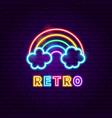 retro rainbow neon label vector image vector image