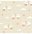 Romantic seamless pattern with cute rabbits in vector image vector image