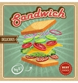 Salami sandwich poster vector image vector image