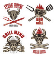 set steak house labels and design elements vector image vector image
