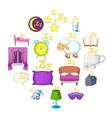 sleep symbols icons set cartoon style vector image