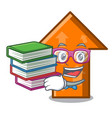student with book arrow mascot cartoon style vector image