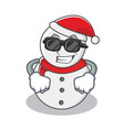 super cool snowman character cartoon style vector image