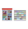 supermarket and shelves poster vector image vector image