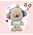 Teddy Bear with headphones vector image vector image