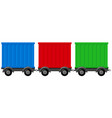three different colors of wagons vector image