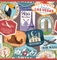 travel stickers seamless pattern vector image vector image
