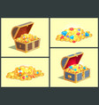 treasures in wooden chests vector image vector image
