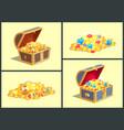 treasures in wooden chests vector image