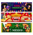 viva mexico fiesta party banners set vector image vector image