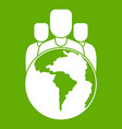 world planet and people icon green vector image