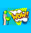 wow word bubble in pop art comics style vector image vector image