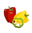 yellow red and gree bell pepper composition vector image vector image