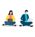 young people girl and man sitting on floor vector image vector image
