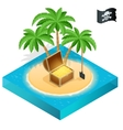 Pirate treasure on a tropical beach with palm vector image