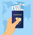hand holding passport with vector image