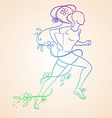 Isolated Running Woman Contour Silhouette vector image
