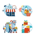 Shopping icons of a store shopping and delivery vector image