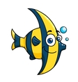 Smiling cartoon striped tropical fish vector image
