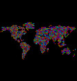 abstract world map from colorful pixels colorful vector image