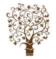 abstract art tree black on white background vector image vector image