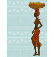 African girl with fruit basket on the head vector image vector image