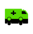 ambulance sign green 3d icon vector image vector image