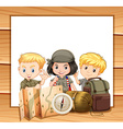 Border design with children in camping outfit vector image vector image