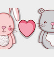 bunny and bear cute doodle cartoons vector image