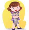cartoon girl with kitten pet vector image vector image