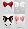 cat ears mask set vector image vector image