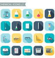 Chemical icons Chemical glassware Flat design vector image vector image