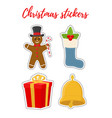 christmas stickers in cartoon flat style vector image