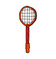 comic cartoon old tennis racket vector image vector image