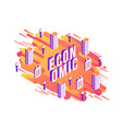 economic isometric word design with letters and vector image