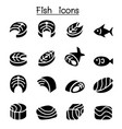 fish meat icons vector image vector image