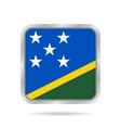 flag of solomon islands metallic square button vector image