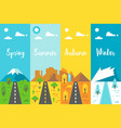 flat design 4 seasons road set vector image vector image