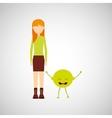girl cartoon and lemon cute fruit icon vector image vector image