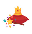 golden crown on red cushion and magic wand vector image vector image