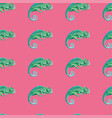 green chameleon seamless pattern pink background vector image