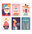 happy birthday greeting card and invitation set vector image