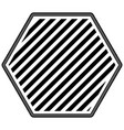 hexagon emblem striped in monochrome silhouette vector image vector image