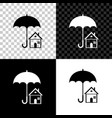 house with umbrella icon on black white and vector image