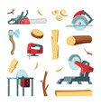 icon set of different tools of wood industry vector image vector image