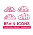 icons of brains in different styles vector image vector image