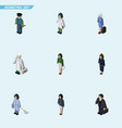 isometric person set of investor businesswoman vector image vector image