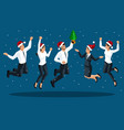isometrics of men and women in office clothes jump vector image vector image